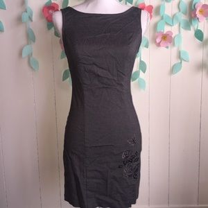 Sheath Dress with Embroidered Floral Decal